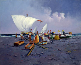 Pescadores y rederas en la playa