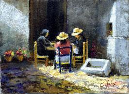 Sentadas en la puerta de casa