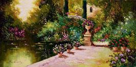 Jardín con flores y estanque