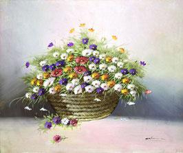 Canasta con flores de colores