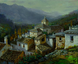 Paisaje de pueblo en la montaña