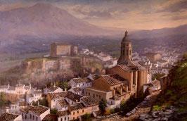Vista de la iglesia y la alcazaba de Loja