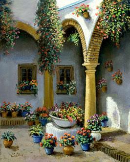 Patio de flores con arcos