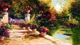Jardín con flores rojas