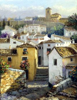 Barrio del Albaicín con monasterio al fondo