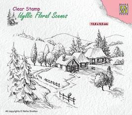 iFS 026  Clearstamp:  Winterlandschap met landhuis