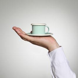 Emaille Espresso Tasse, mint