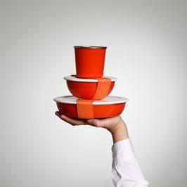 Starter Set Wasserglace-Orange inkl. Deckel gross & klein, sowie Gummi's