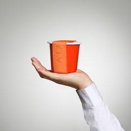YIV Emaille Becher, Deckel & Gummi, Wasserglace-Orange