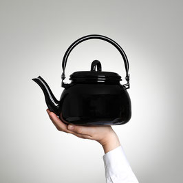 Emaille Teekrug schwarz