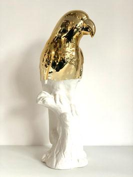 Pols Potten - statue parrot white, gold dip