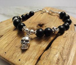 Armband mattierter Onyx mit Totenkopf und Verschluss in Silber 925