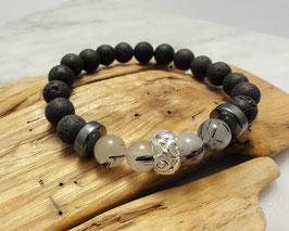 Lava-Armband mit Bergkristall-Turmalin, Hämatitwalzen und Silber 925