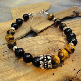 Armband Onyx, Tigerauge