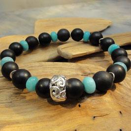 Armband Onyx matt, Amazonzitrondellen