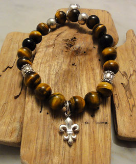Tigeraugen/ Onyxbracelet mit Silber 925 Lillie, Totenkopf und Zwischenteile