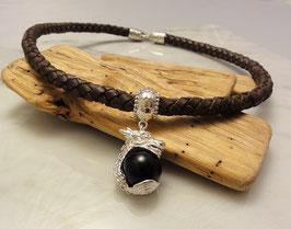 Ledercollier, Drachenanhänger mit Edelsteinkugel Silber 925