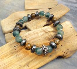Armband grüne Jade, Bronzit mit Hämatitrondellen