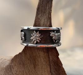 Ring Silber 925 mit Edelweiss+Kuh Motiv geschwärzt