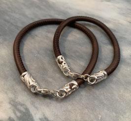 Armband genähtes Leder mit Silberverschluss