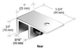 Klemmwinkel als Deckenhalter für freistehende Scheiben zur Stabilisierung an der Decke, ohne Glasbohrung