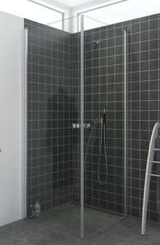 Duschabtrennung mit 2 Drehtüren (2-scheibig) als Eckeinstieg, pendelnd, Größe 90 x 90 oder 100 x 100 cm, Typ Dani