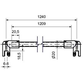 Stabistange-Set für Glasdusche, Glas-Glas, 90°, 12,5 mm Rohr, Art.Nr. 0820