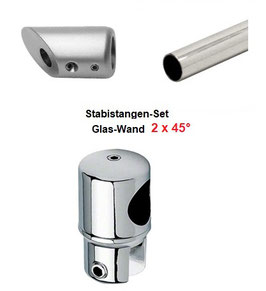 Stabistange-Set für Glasdusche, Glas-Wand 2x45°, 19 mm Rohr, Chrom glanz, 2x 500 mm,   Art.Nr. S45DUO-SET