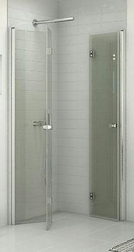 platzsparende Duschabtrennung mit 2 Falttüren (4-scheibig), pendelnd, Größe 90 x 90 oder 100 x 100 cm, Typ Dani