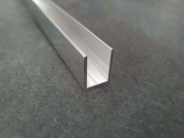 Alu-U-Profil für 10 - 12 mm Glas zur innenseitigen Silikonverklebung, Höhe 20 mm, Art.Nr. BO67034.10
