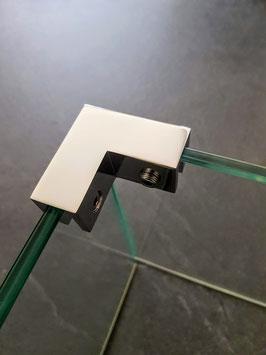 Haltewinkel als Glas-Glas Halter 90°, für feststehende Scheiben zur Stabilisierung im 90°-Winkel, ohne Glasbohrung