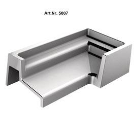Zubehör für SM-Schwallprofil, 180° Abschlußkappe Links, Art.Nr. 5007, glanzverchromt