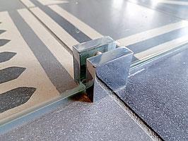 U-Schuh Halter am Boden, für freistehende Scheiben zur Stabilisierung am Boden, ohne Glasbohrung