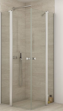 Duschabtrennung mit 2 Drehtüren an 2 Festteilen (4-scheibig) als Eckeinstieg, pendelnd, Größe 90 x 90 oder 100 x 100 cm, Typ Dani