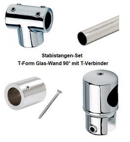 Stabistange-Set für Glasdusche, T-Form Glas-Wand 90° mit T-Verbinder, 19 mm Rohr, Chrom glanz,  Art.Nr. T-Form19-SET