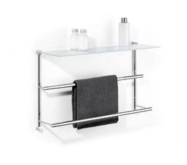 Badetuchhalter Server mit Glasablage, zur Befestigung an Wand, Art.Nr. 30850