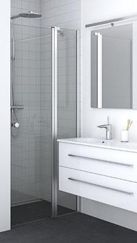 Duschabtrennung, Nischenlösung, Drehtür an Festteil (2-scheibig), pendelnd, Größe 90 cm oder 100 cm, Typ Dani