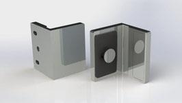 flächenbündiger 90 Grad Wandhalter für feststehende Glasscheiben, Chrom glanz