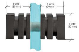 Dusch-Türknopf, 30 mm quadratische Form mit Rippung, Typ SDK160