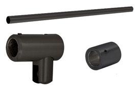 Stabistange-Set für Glasdusche, Glas-Wand, 90°, 19 mm Rohr,  Schwarz matt,  Art.Nr. S1S12S4