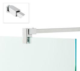 Stabilisierungsstange Set Glas-Wand 90°, eckig, 12x12 mm, Messing glanzverchromt,  Länge: 1210 mm Art.Nr. BO5420262
