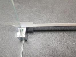 Stabistange-Vierkant-Set Glas-Wand, 10 x 20 mm; Länge: 1300 mm, Chrom glanz, Set-NTK1020-1300-CH