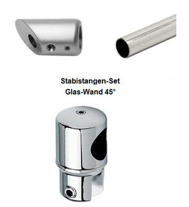 Stabistange-Set für Glasdusche, Glas-Wand 45°, 19 mm Rohr, Chrom glanz,  Art.Nr. S45-SET