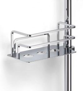 Korb für Duschstange ohne Duschabzieher mit gerader Grundplatte (Löcher), bis 25 mm Stangenrohr geeignet