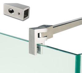 Stabistange-Vierkant Set Glas-Wand 45°, 15 x 15 mm; Edelstahl poliert oder gebürstet, Länge: 451 mm, , Art.Nr. 5420239