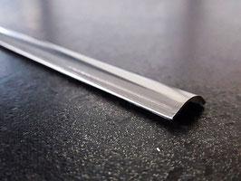 Schwallprofil Edelstahl 3D-poliert, runde Form mit seitlichem Abschwung; 15 x 5 mm; Länge: 100 cm; ILE3D