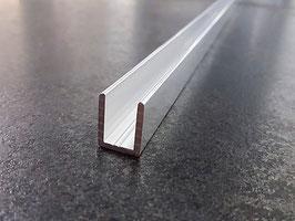 Alu-U-Wandprofil für 10 mm Glas zur innenseitigen Silikonverklebung, Höhe 19 mm, Art.Nr. SDCD12