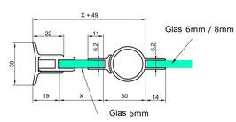 Duschtür-Set, Drehteil an Festteil (2-scheibig) für 6 mm Glasdicke, Serie NLO68/S012-rund+H-Verbindung