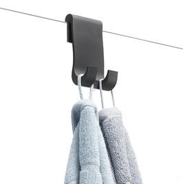 Halter bzw. Haken für Handtücher oder Duschabzieher aus Silikon, Farbe: Dunkelgrau