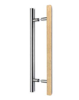 Sauna-Türgriff, Modell 59, zweiseitig, Kombination aus Abachi-Holz und Edelstahl-Design
